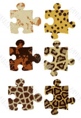 Samples of fur wild animal