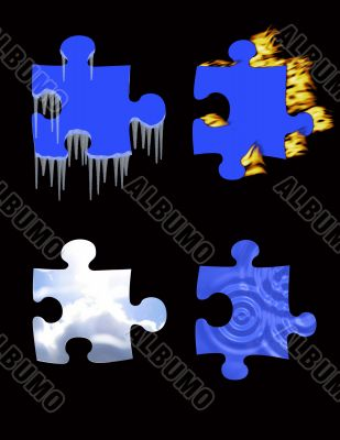 Symbols - fire, an ice, air, water.