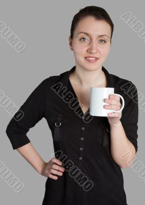 woman with a white mug