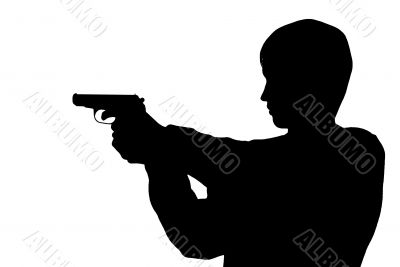 Silhouette man with a pistol