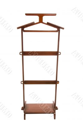 Wooden hanger isolated on a white