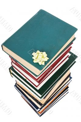 Pile of books in gift packing isolated
