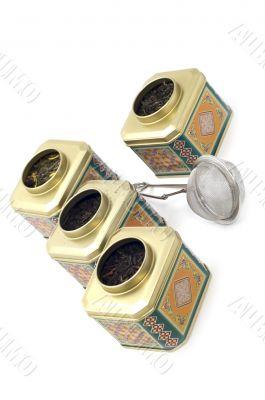 tea boxes close up
