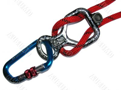 Figure Eight rappel device, carbine and rope