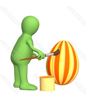 3d person - puppet, painting an easter egg