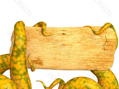 Tentacles of a monster, holding a wooden board