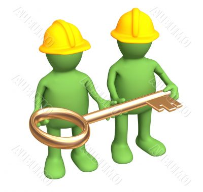 Builders - puppets, holding in hands a gold key