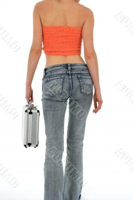 Beautiful slim woman with metal case