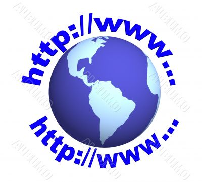 3d globe and the text -  the Internet-address