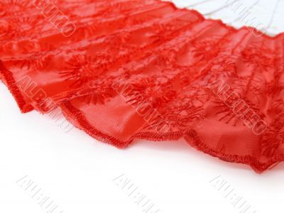 Red fan on white background