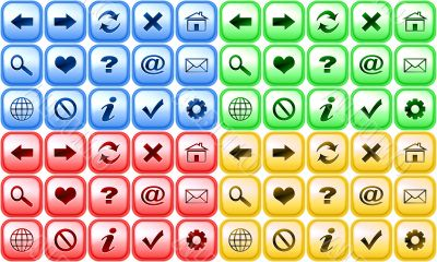 Set of color buttons for internet browser