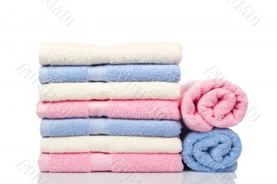 Multicolored towels stacked