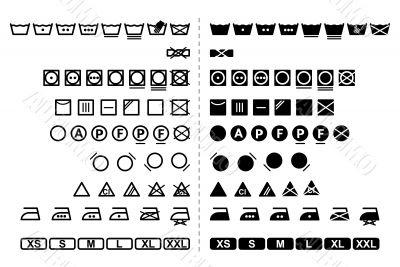 washing symbols / black and white / vector