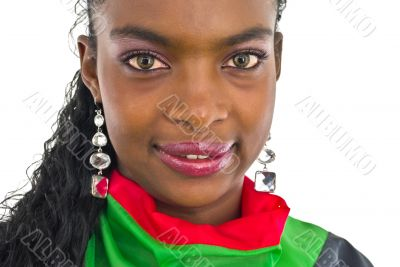 african girl in red and green with ear-rings
