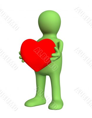 3d person - puppet, holding in hands red heart