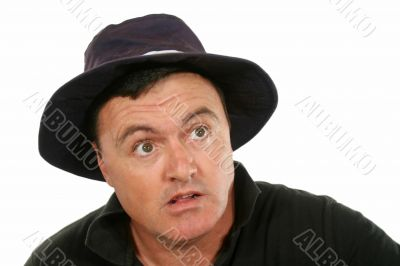 Flabbergasted Man In Hat