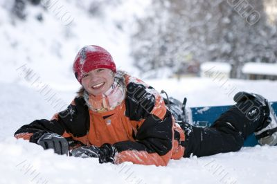 A health lifestyle image of teens snowboarder
