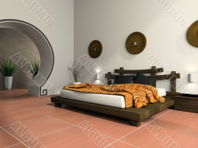 Modern bedroom in  ethnic style