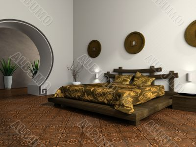 Luxurious bedroom in ethnic style