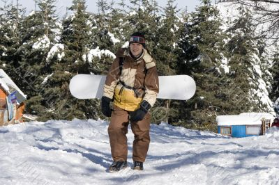 A health lifestyle image of adult snowboarder