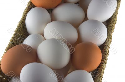 Isolated eggs in straw container
