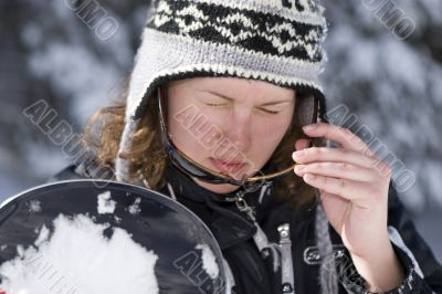 Beautiful girl snowborder