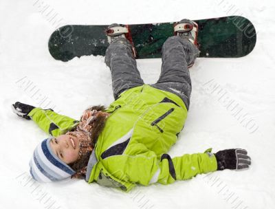 health lifestyle image of young snowboarder girl