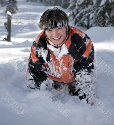 A lifestyle image of snowboarder after incide