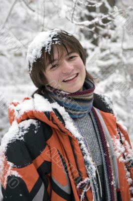 teens boy in scarf  outdoors in winter