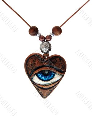 Heart with eye. Necklace.