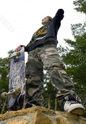 Teenager with Skateboard