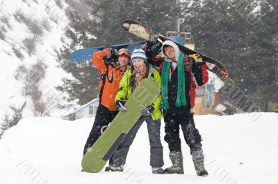 Happy snowboarding teams, health lifestyle