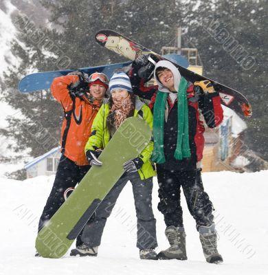 Happy snowboarding team, health lifestyle