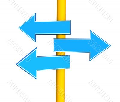Three arrows, specifying different directions