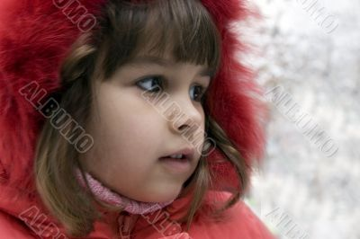 Beautiful girl Victoria  outdoors in winter