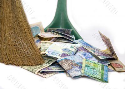 Money and broom