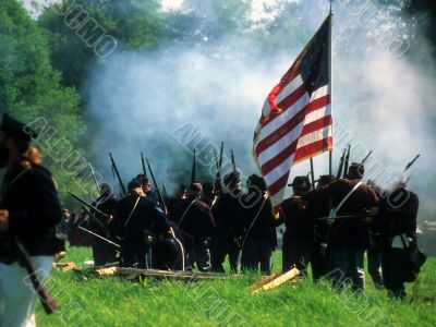 Union line preparing to fire,
