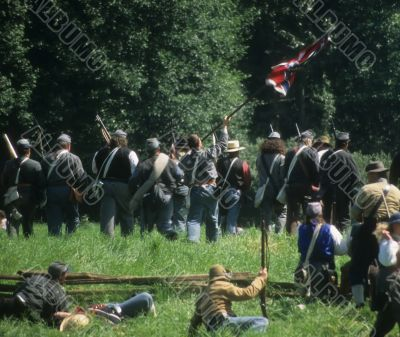 Confederate soldiers advance,