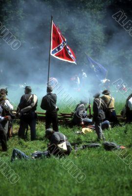 Confederates defend the flag