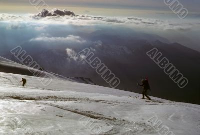 Telemark skiers on ascent of Mt Baker