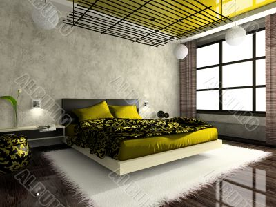 Luxurious interior of bedroom in green colour