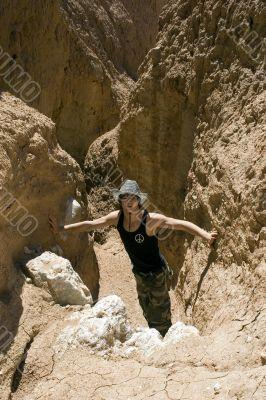 Teenager paleontologist in underground cave
