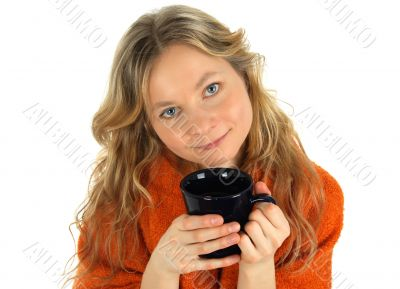 Charming girl with a big cup of tea