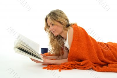 Nice girl reading a book, relaxed