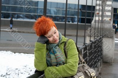 red-haired sad, lonely woman in depression and bad feelings
