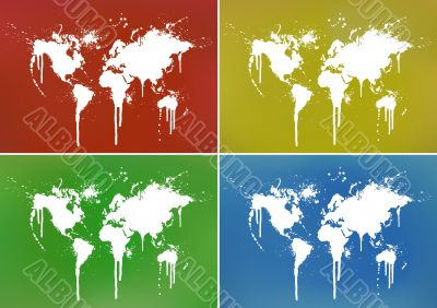 World ink splatter illustration with backgrounds