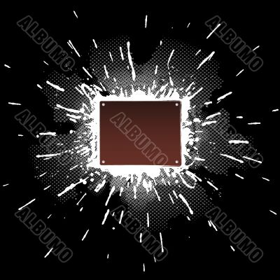 Splatter design element with screw-bolted metal plate in the mid