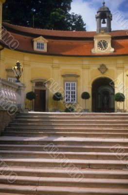 Stairway & entrance to chateau