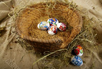 The painted eggs
