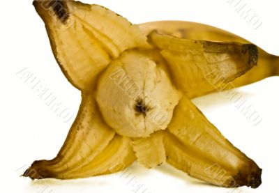 opened banana with shadow